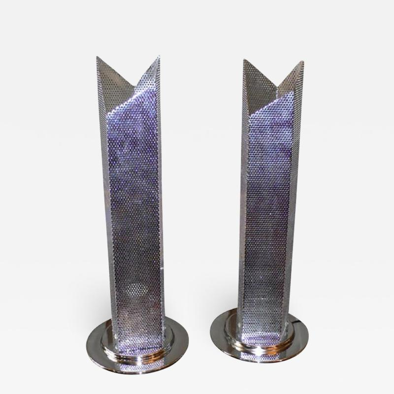 Two 1980s perfored metal lamps
