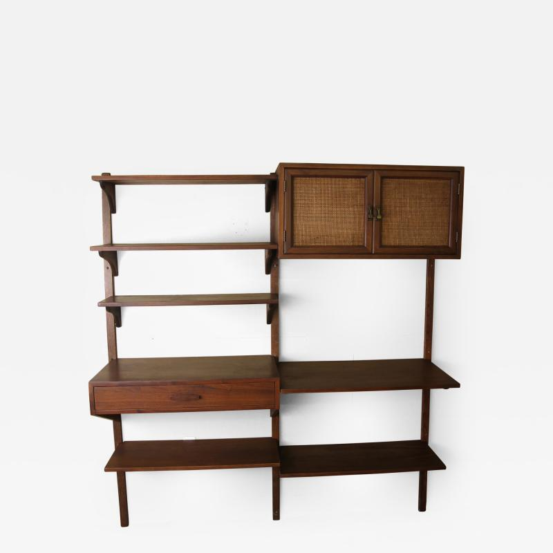 Two Bay walnut wall unit