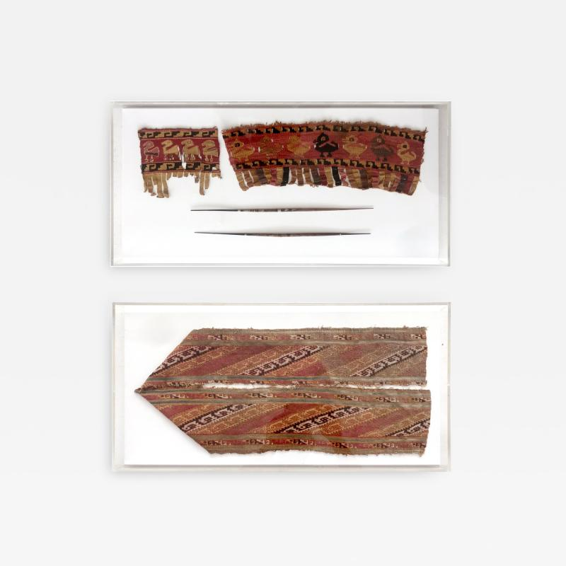 Two Framed Pre Columbian Textile Fragments and Tools