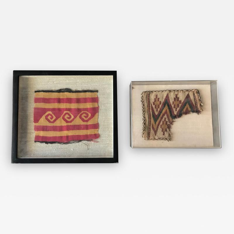 Two Framed Pre columbian Textile Fragments Nazca Culture