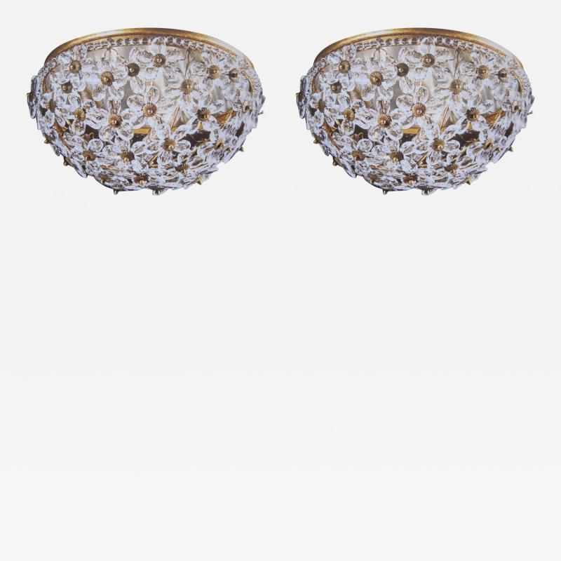 Two Italian Mid Century Style Solid Crystal Floral Ceiling Flush Mount Fixtures