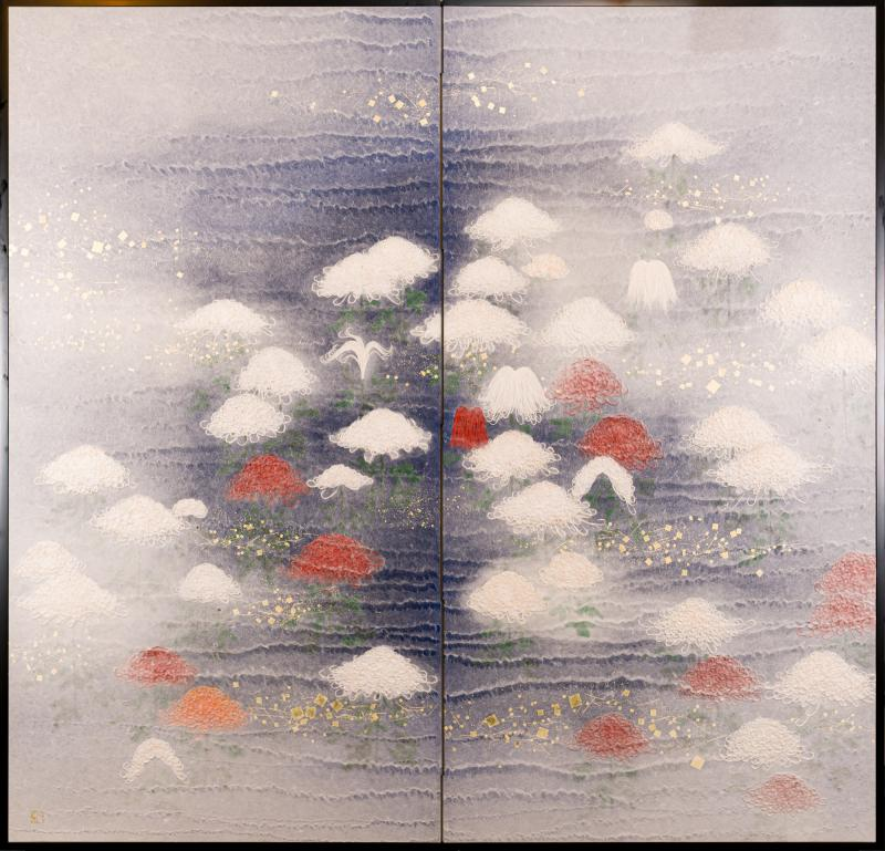 Two Panel Screen Chrysanthemums Through the Mist Rare Obara Paper Art Screen