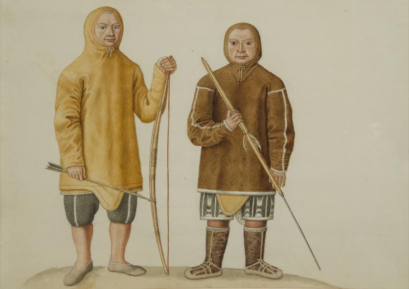 Two Watercolors of Greenland Inuit During A Missionary Tour of Copenhagen C 1724