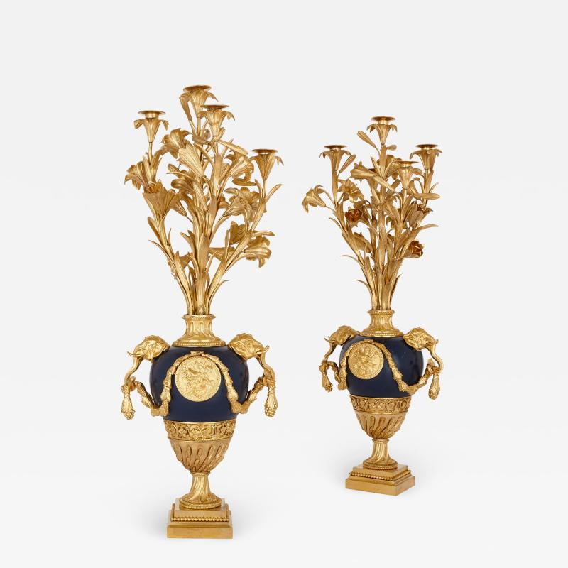 Two antique Neoclassical style painted tin and gilt bronze candelabra