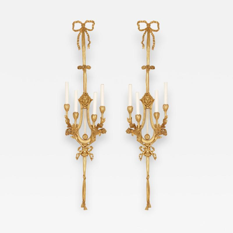 Two large Neoclassical style gilt bronze sconces