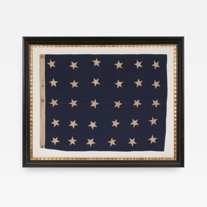 U S NAVY JACK WITH 30 STARS AN ENTIRELY HAND SEWN PRE CIVIL WAR EXAMPLE