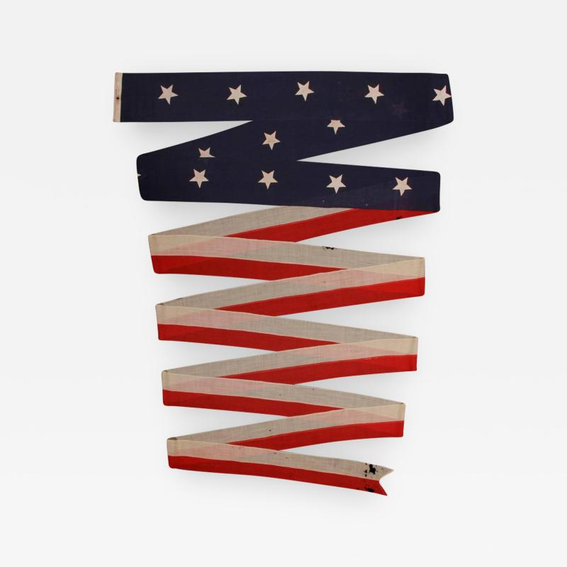 U S Navy Commission Homeward Bound Pennant with 14 Stars Made by El Rowe Sons