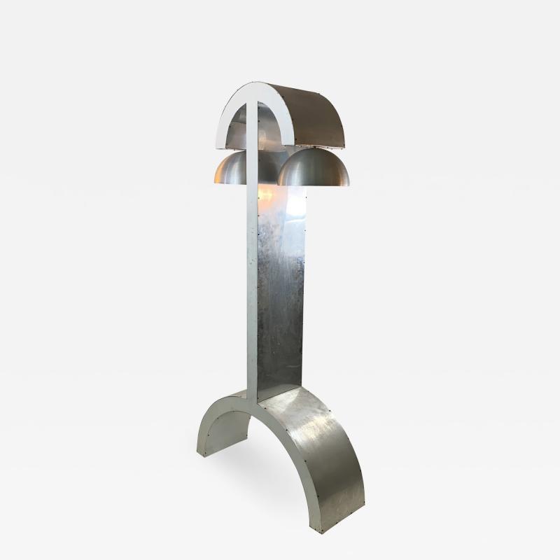 UNIQUE MODERNIST ALUMINUM AND WOOD FLOOR LAMP