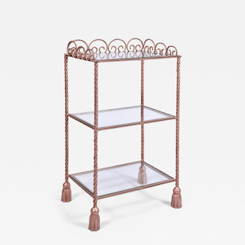 US 1970s three tiered gold metal shelving stand