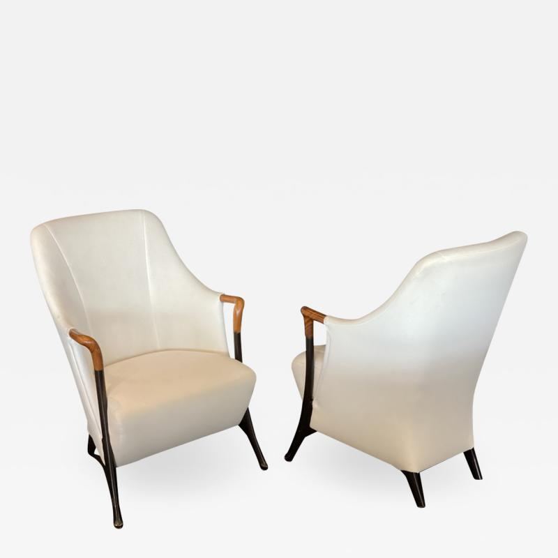 Umberto Asnago Pair Italian Modern Walnut Ebonized Club Chairs Umberto Asnago for Giorgetti