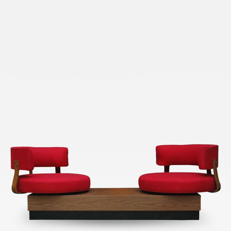 Unique Mid Century Modern Red Swivel Lounge Chairs Sofa on Platform Base
