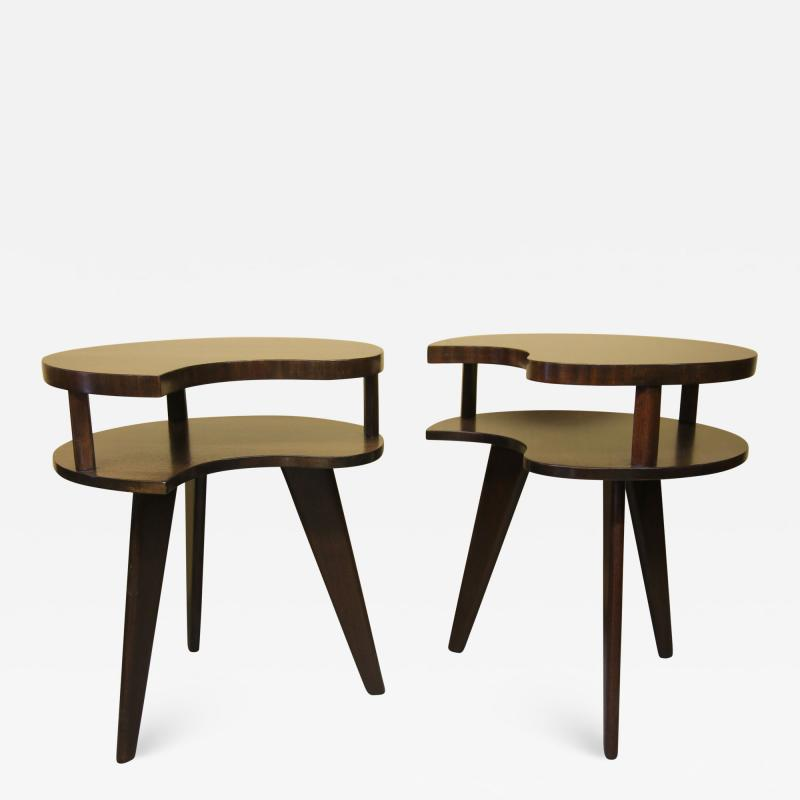Unique Mid Century Side tables with a Walnut Finish