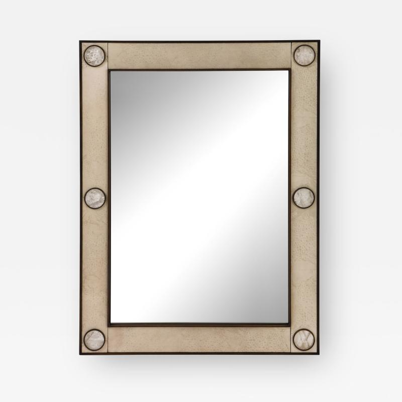 Unique mirror with a parchemin gauffr frame and rock crystals inserts