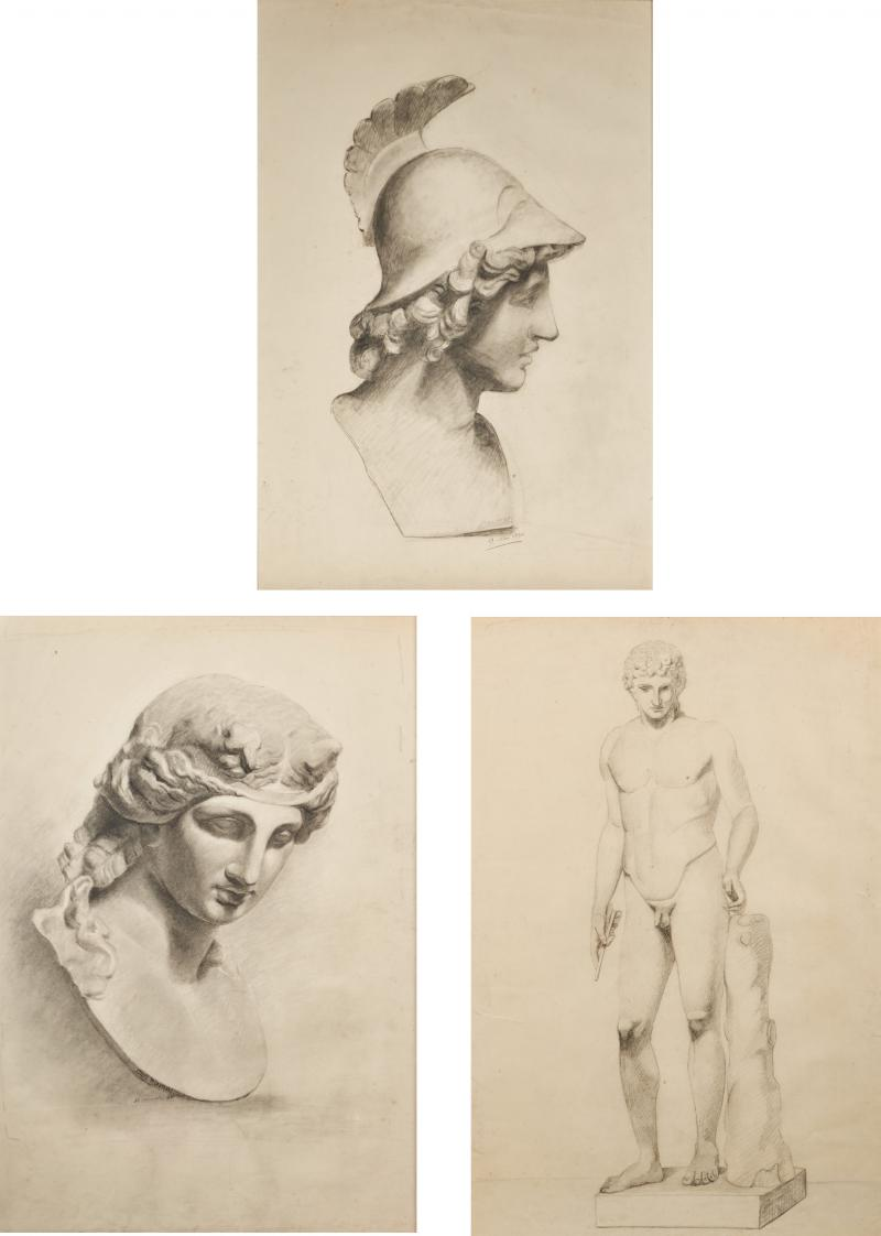 Unknown Academy Student 19th C Drawing Pencil on paper framed signed