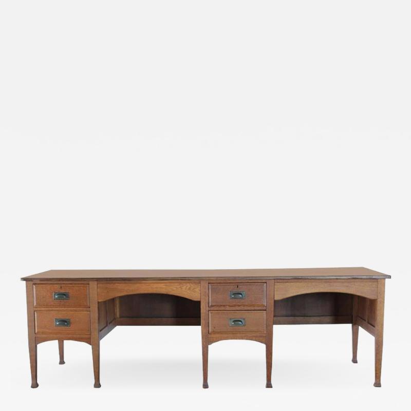 Unusual Antique School Double Oak Desk