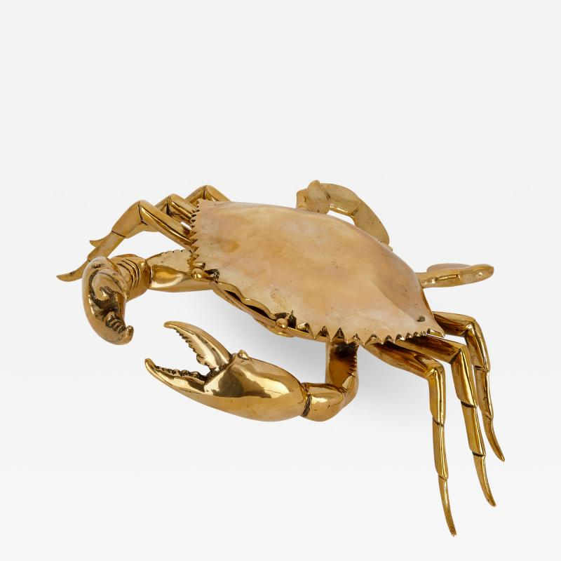 Unusual English brass box in the shape of a crab