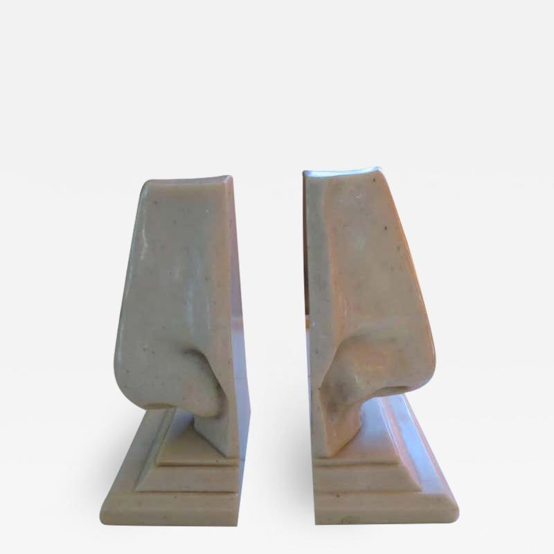 Unusual Pair of Italian Mid Century Modern Oversized Nose Bookends