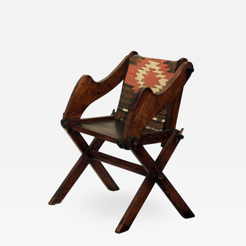 Unusual Patinated Oak Arts Crafts Side Chair with Vintage Navajo Fabric