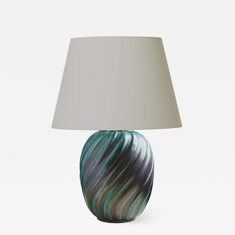 Upsala Ekeby Blueish green swirl table lamp by Ana Lisa Thomson