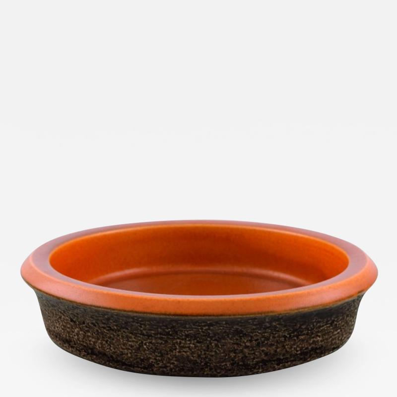 Upsala Ekeby Dish in glazed stoneware Glaze in brown and orange shades