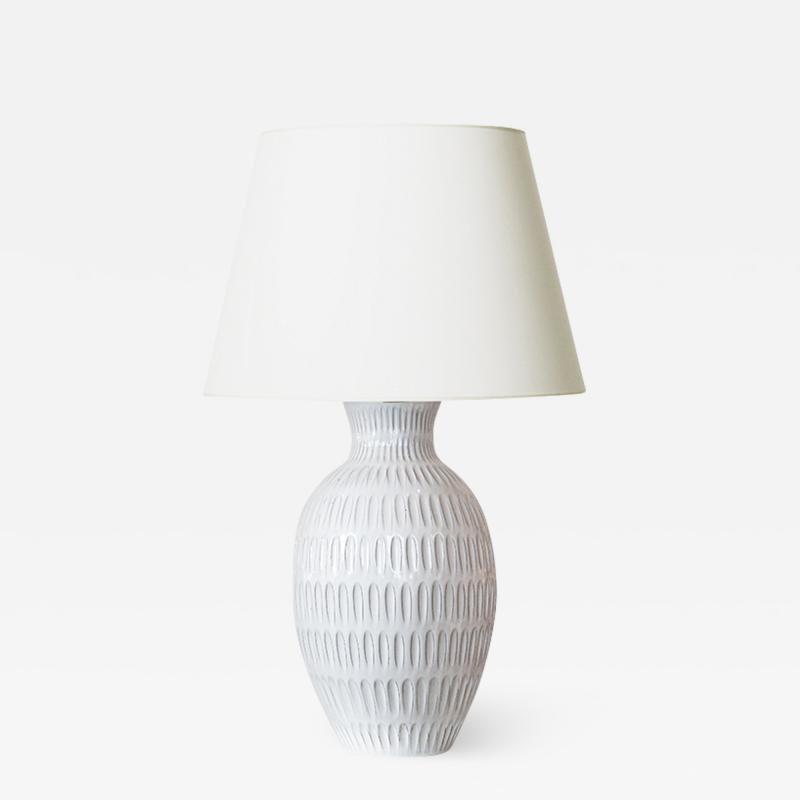Upsala Ekeby Large Table Lamp with Gouged Design by Anna Lisa Thomson