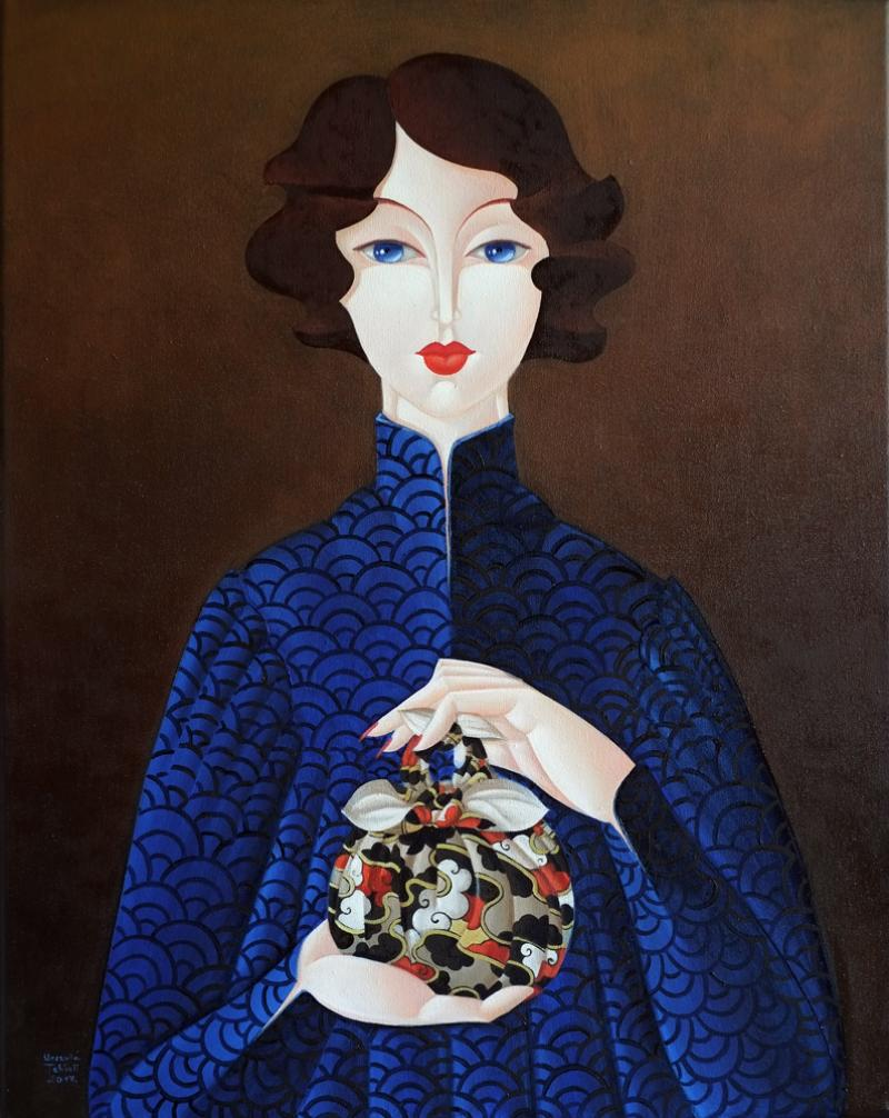 Urszula Tekieli Furoshiki Woman In Blue Dress