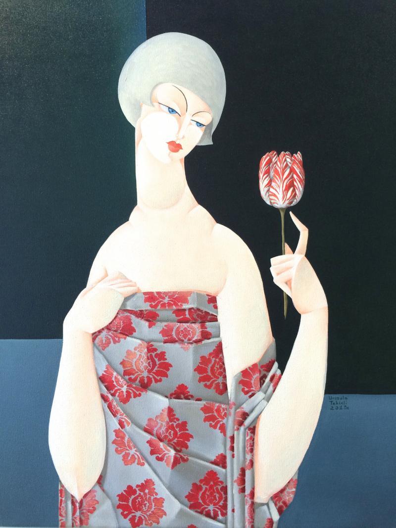 Urszula Tekieli LXIX Woman with Red Tulip