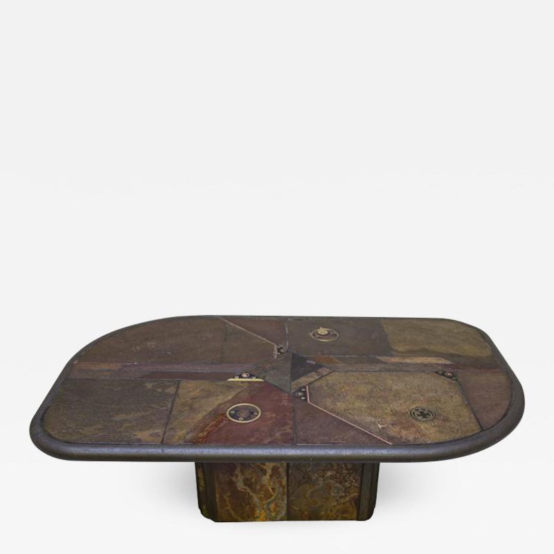 V Ramburrem Slate and Bronze Coffee Table by V Ramburrem Paul Kingma Style circa 1985