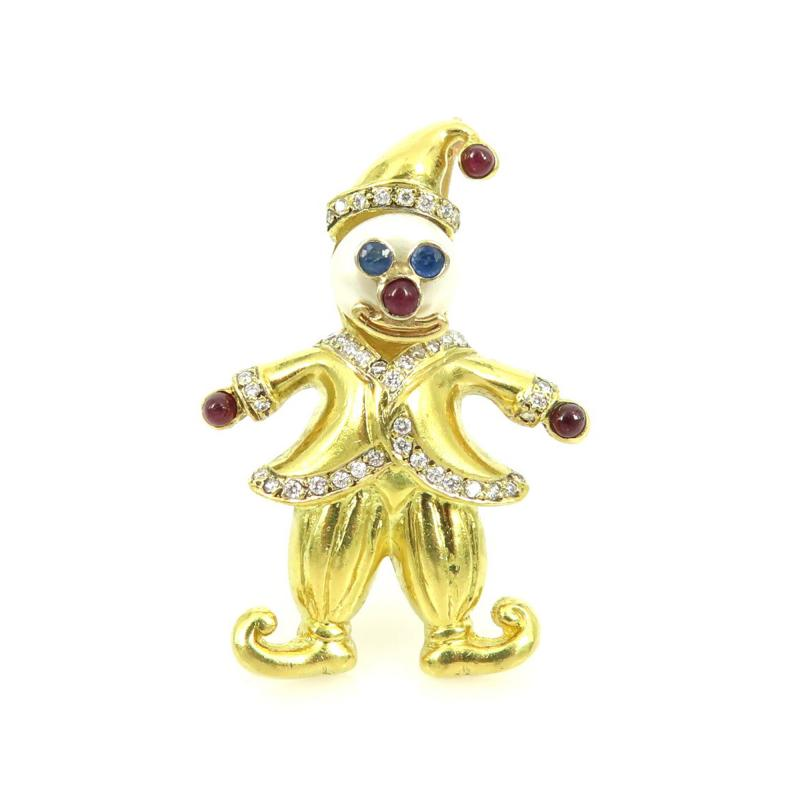 VINTAGE 18KT GOLD CLOWN PIN WITH PEARLS AND PRECIOUS STONES