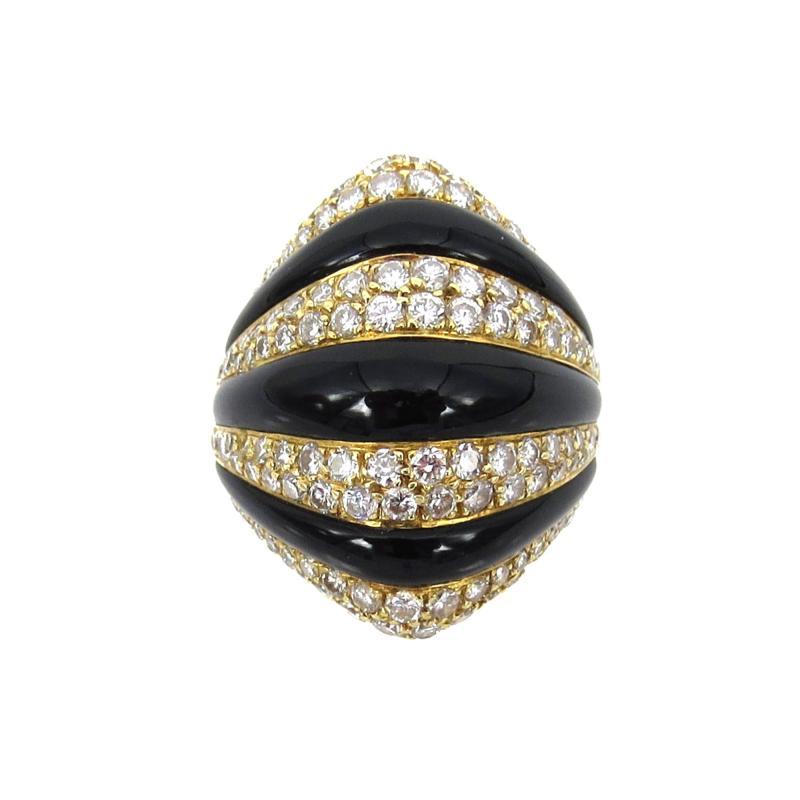 VINTAGE 18KT GOLD ONYX DIAMOND RING
