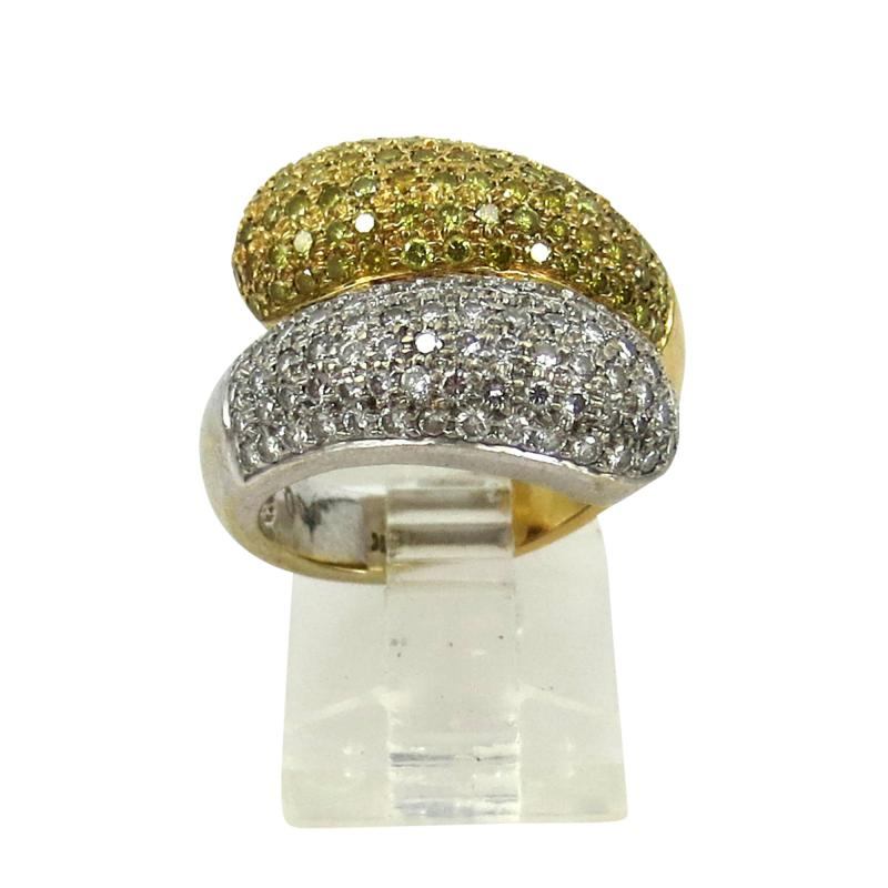 VINTAGE 18KT YELLOW AND WHITE GOLD DIAMOND YELLOW SAPPHIRE SNAKE TYPE RING