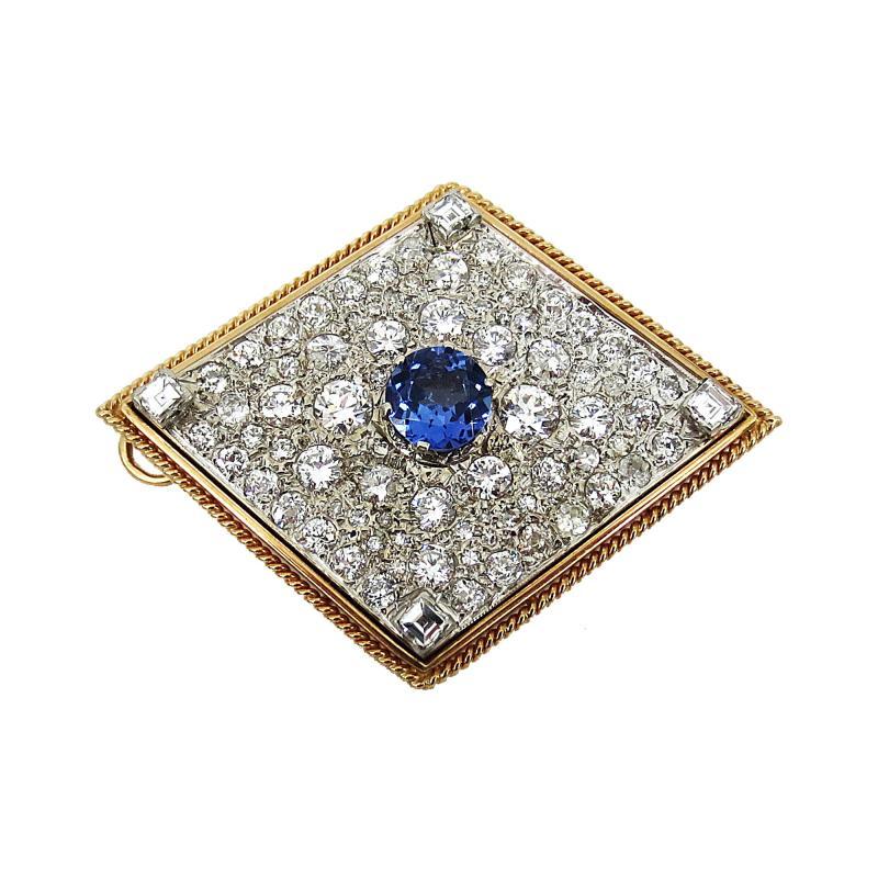 VINTAGE TANZINITE DIAMOND PIN OR PENDANT ROSE AND WHITE GOLD
