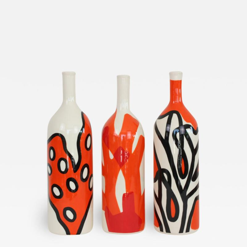 Val rie Le Roux Set of 3 Contemporary Ceramic Bottles with Nautical Motifs Corail