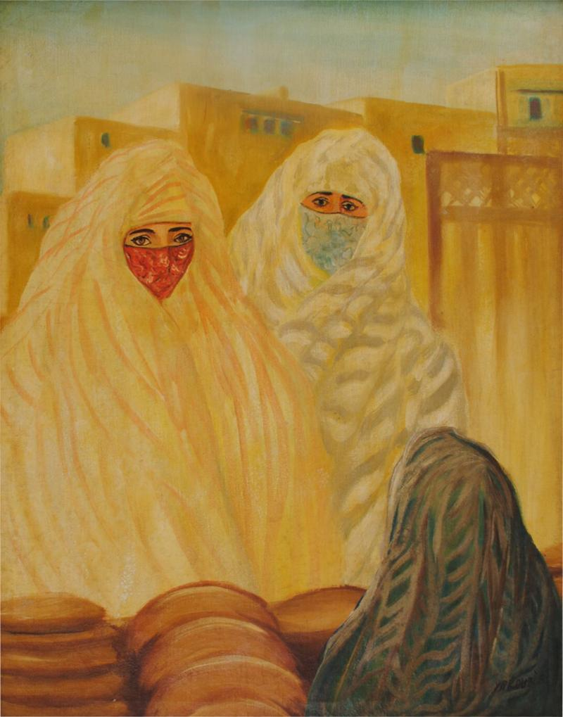 Valery Ivanovich Jacobi Orientalist Painting of Veiled Women