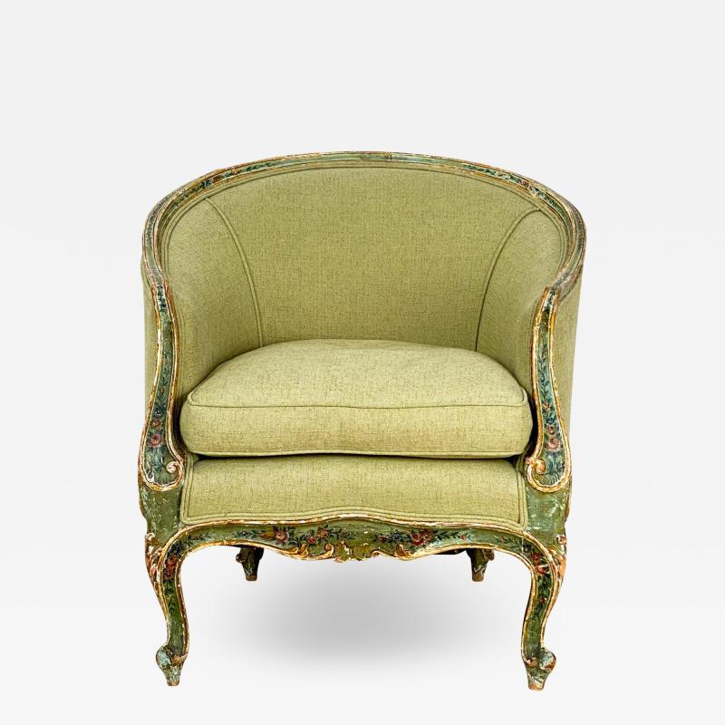 Venetian Painted Tub Chair Italy Circa 1800