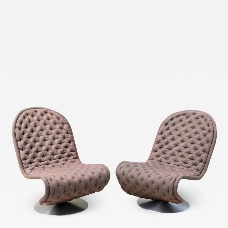 Verner Panton Pair of Verner Panton Tufted 123 Lounge Chairs
