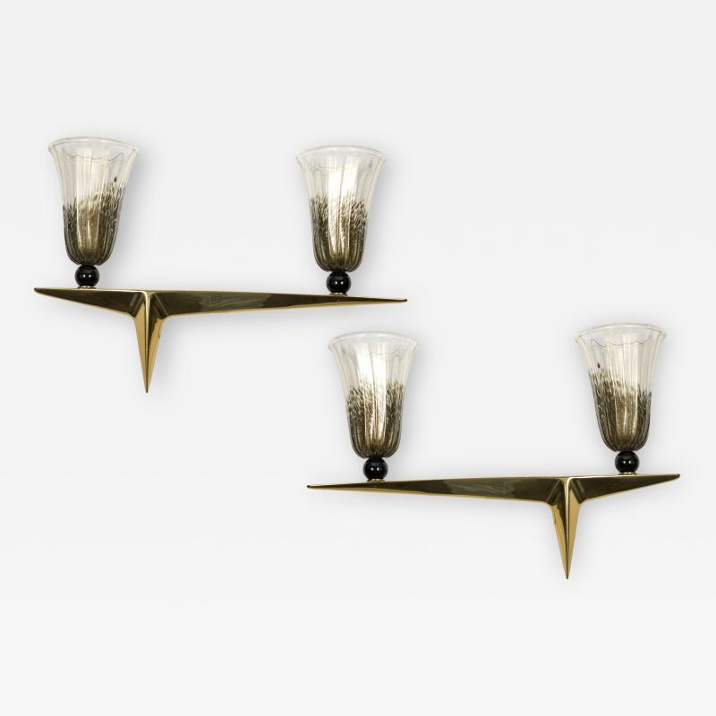 Veronese Paire of Murano Glass sconces attributed to Veronese