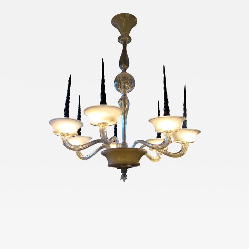 Veronese Seguso for Veronese Pulegoso glass chandelier Circa 1950