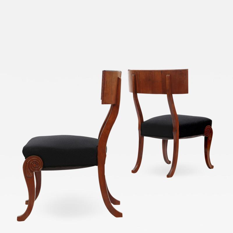 Very Fine Danish Art Nouveau Klismos Chairs in Mahogany