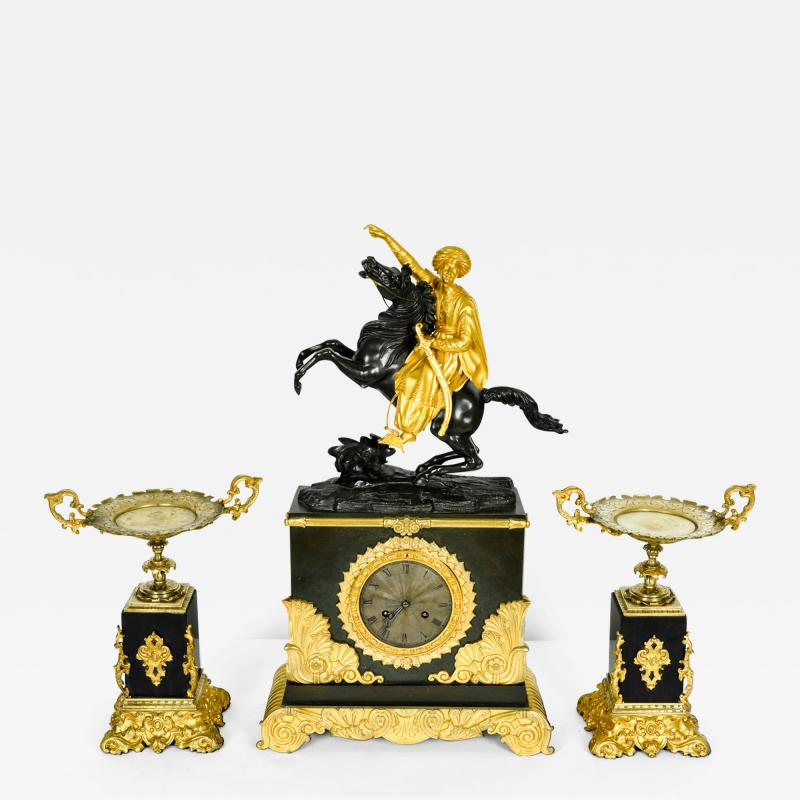 Very Fine Early 18th Century French Bronze Mantel Clock Set