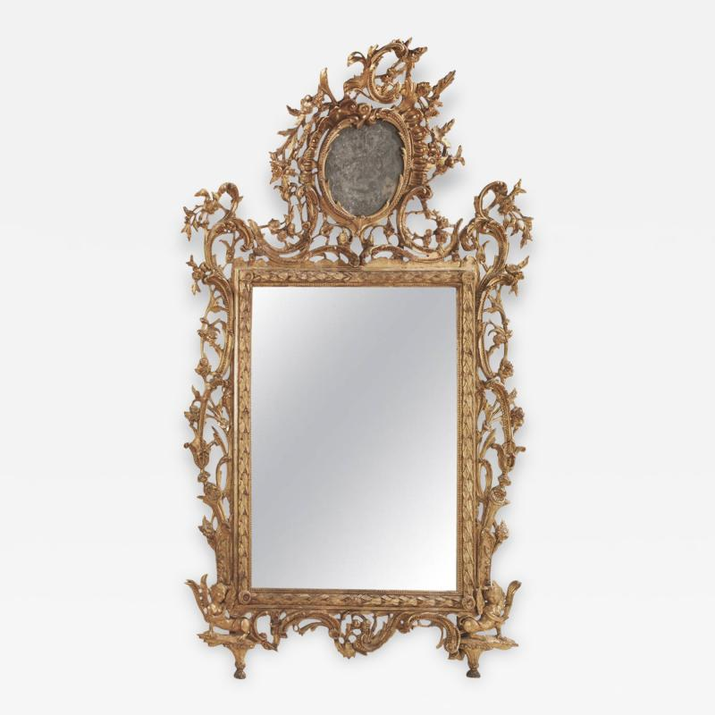 Very Fine Italian 18th Century Carved and Giltwood Mirror