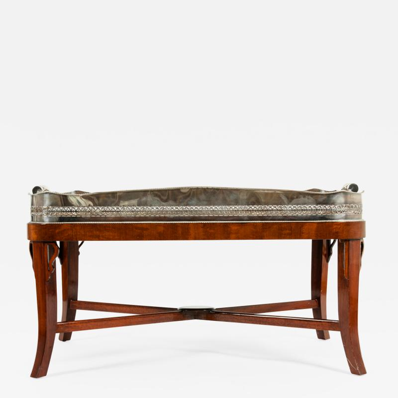Very Large Plated High Border Tray Table Tortoise Shell Interior