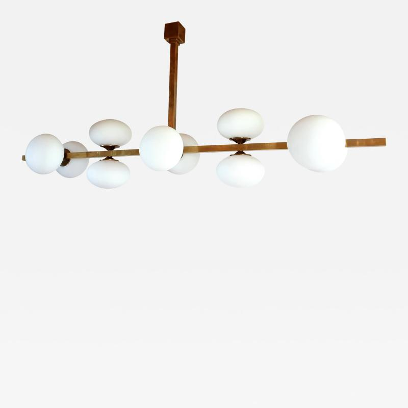 Very long brass white glass Mid Century Modern chandelier Italy 1970s