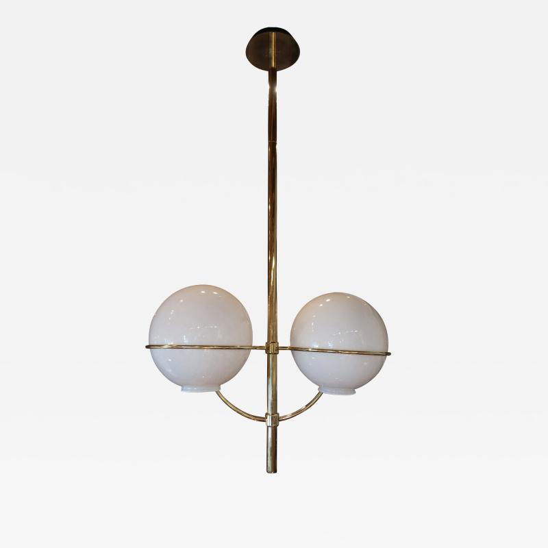 Vico Magistretti A Brass and Opaline Glass Ceiling Lamp by Vico Magistretti Italy 70