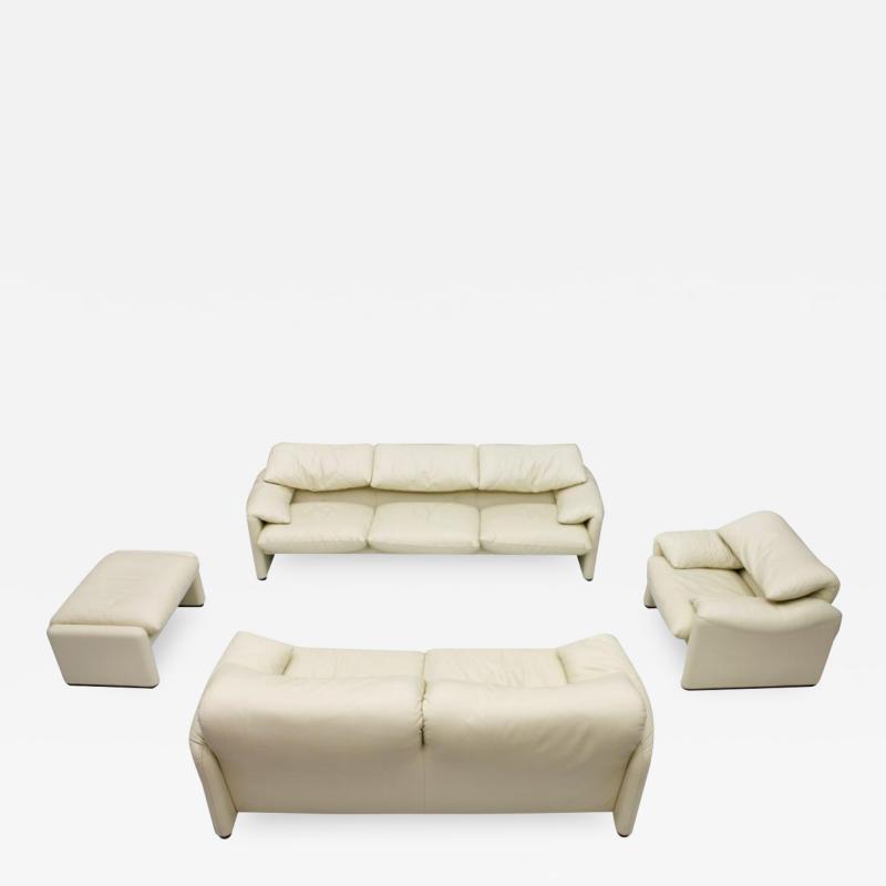 Vico Magistretti Cream White Living Room Set Maralunga by Vico Magistretti for Cassina 1973