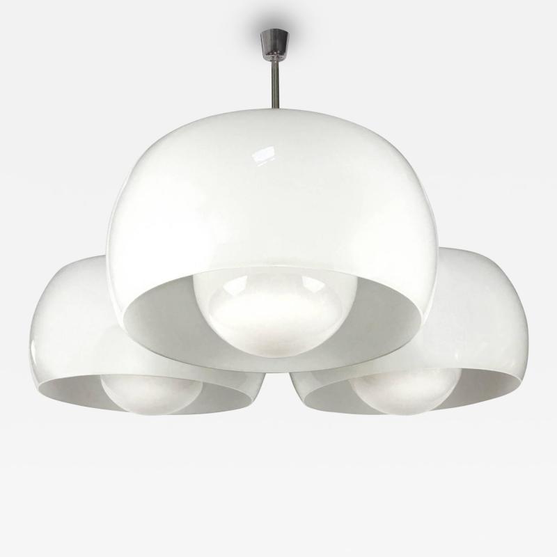 Vico Magistretti Large Triclinio White Glass Fixture by Vico Magistretti