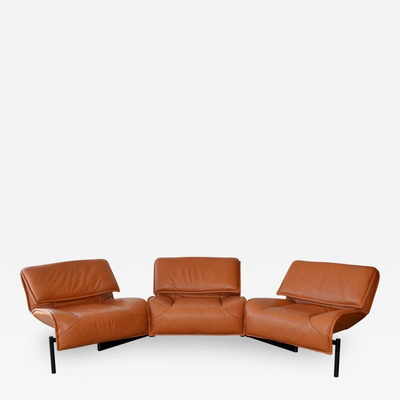 Vico Magistretti Pair of Leather Sofas by Magistretti for Cassina Italy