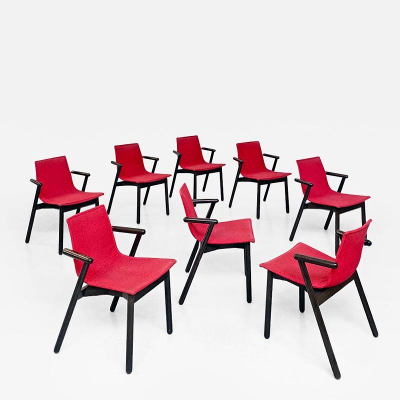 Vico Magistretti Set of red Villabianca chairs by Vico Magistretti for Cassina 1985