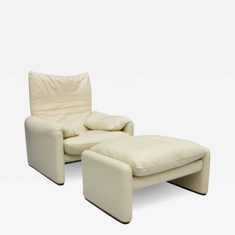 Vico Magistretti Vico Magistretti Maralunga Leather Lounge Chair with Stool Cassina