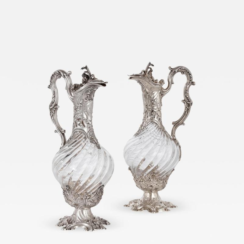 Victor Boivin Two glass and silver ewers by Victor Boivin